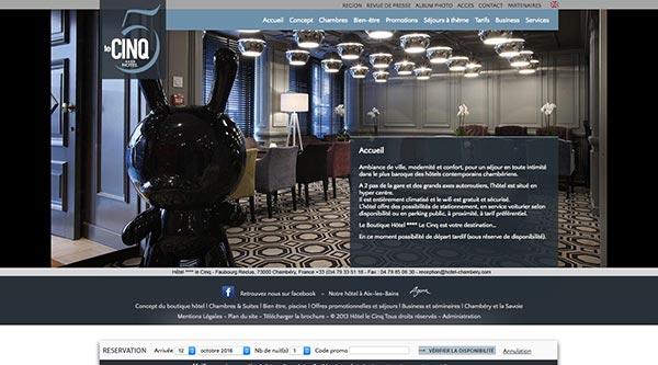 site internet Hôtel le 5 Chambéry